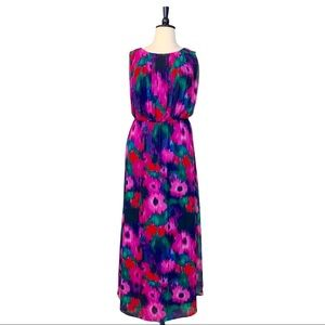 Eliza J • Pink Purple Blue Floral Maxi Dress • 18W